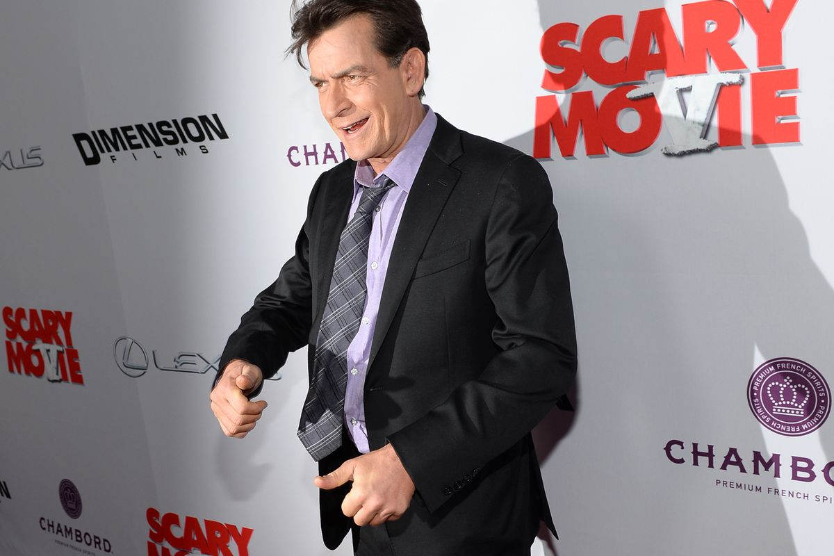 Actor Charlie Sheen at a film premiere.