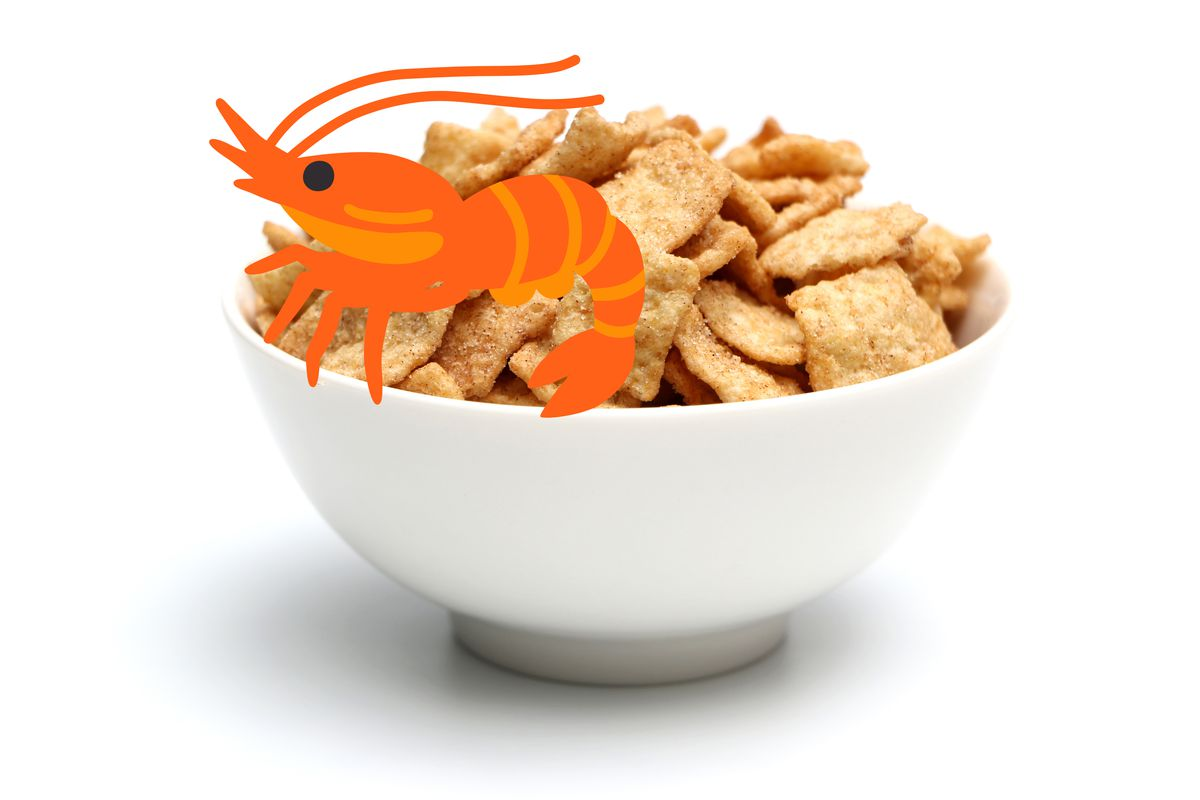 A white bowl of cinnamon toast crunch cereal on a white background, with an emoji shrimp overlaid on top of it