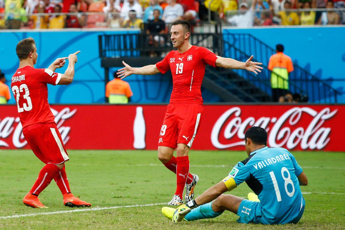 Shaqiri scored early and often to send Honduras home