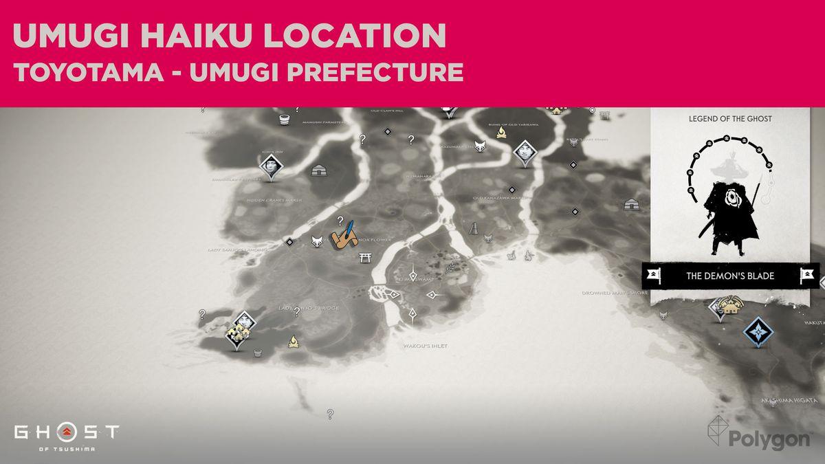 The Umugi haiku location in Ghost of Tsushima
