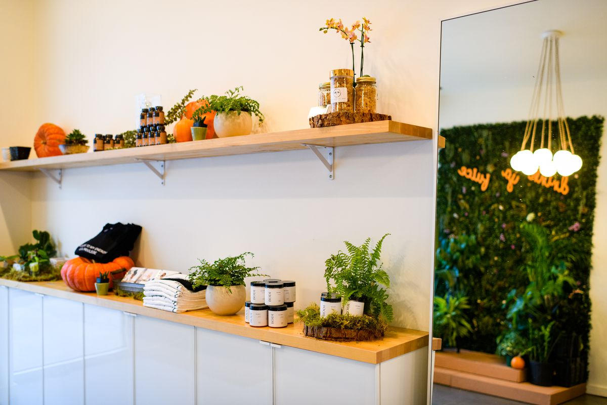 Vials of essential oil, candles, shirts, and pumpkins line the wooden shelves at Drink Mamey