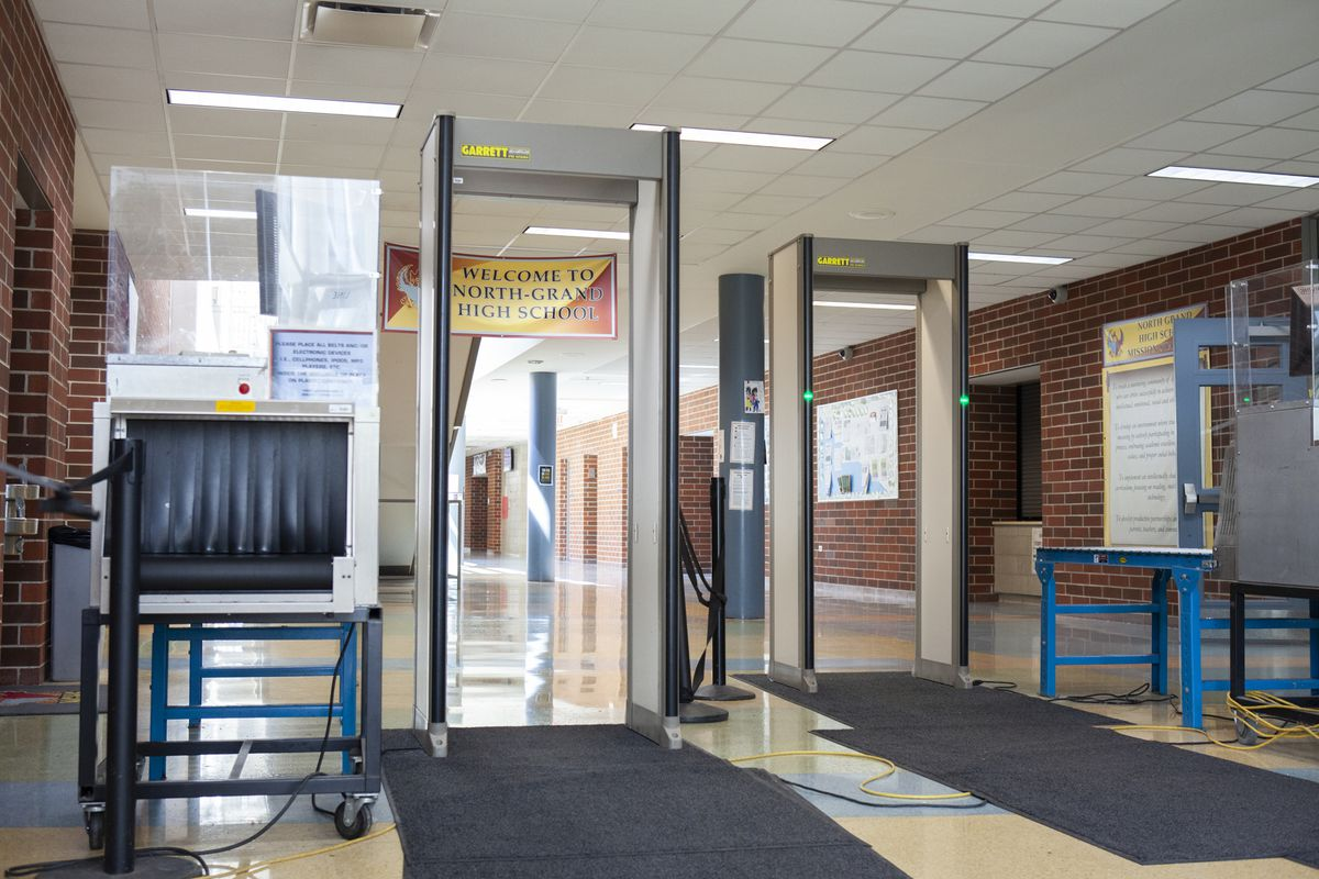 Metal detectors at an entrance to North-Grand High School in Chicago. Photo by Stacey Rupolo/Chalkbeat; Taken May, 2019