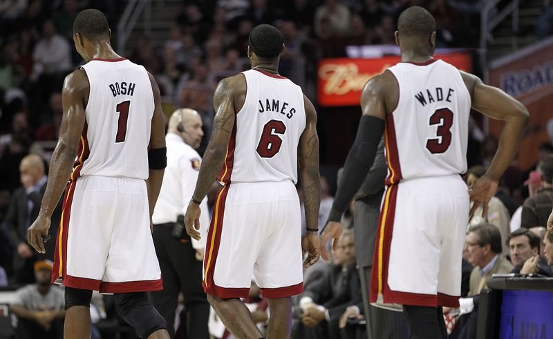 The backs of LeBron James, Chris Bosh, and Dwyane Wade during their time with the Miami Heat