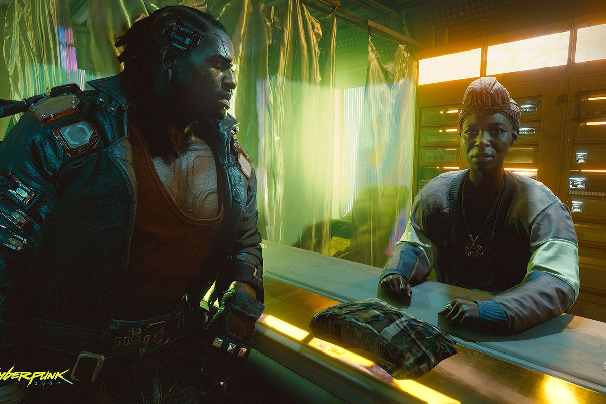A member of the Voodoo Boys talks with a Haitian resident of Night City. From CD Projekt Red's Cyberpunk 2077, E3 2019.