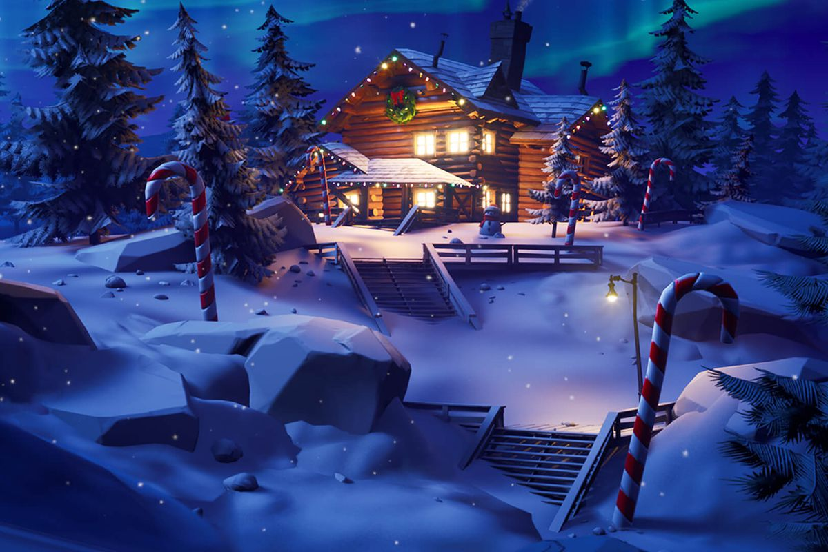 Fortnite's 2019 Winterfest Lodge sits in a snowy forest