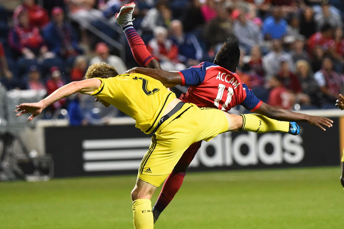 Tyson Wahl welcomes David Accam back to MLS with a traditional full-body thudding.