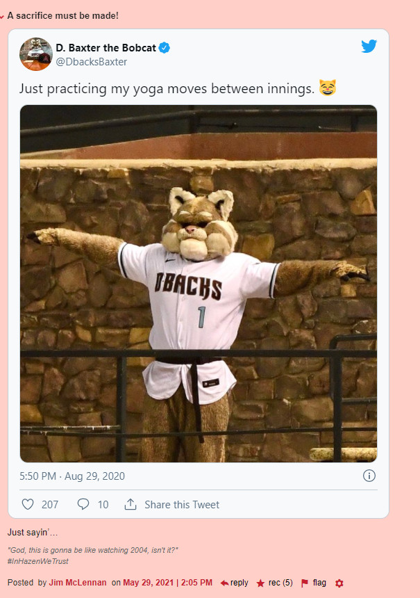 """""""A sacrifice must be made!"""" followed by an embedded tweet from the official D. Baxter twitter account that includes a picture showing him in a position reminiscent of someone being crucified. 5 recs"""