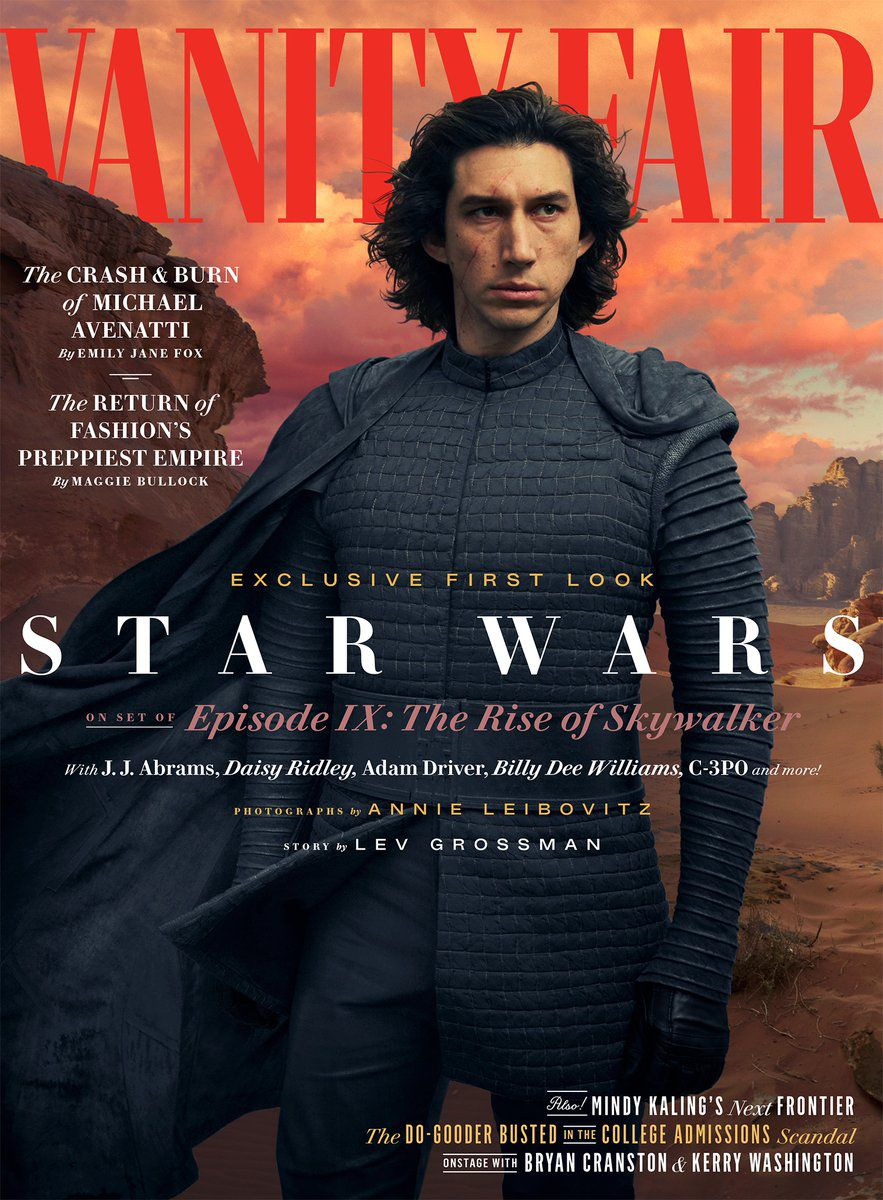 Vanity Fair cover for Star Wars: The Rise of Skywalker featuring Kylo Ren