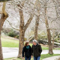 Pastor Steve Aeschbacher, of the First Presbyterian Church, and his wife, Alice, walk near their home in Salt Lake City, part of their routine while practicing social distancing, on Saturday, March 28, 2020.