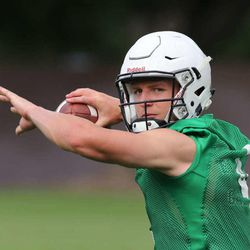 Quarterback Taysom Hill as BYU opens its first day of football camp Aug. 8, 2015, in Provo.