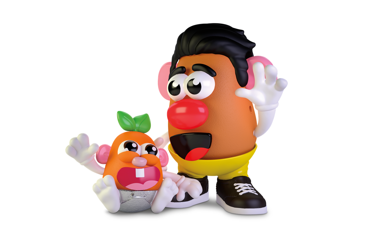 A possible configuration of the Potato Head family, with a father and a baby.