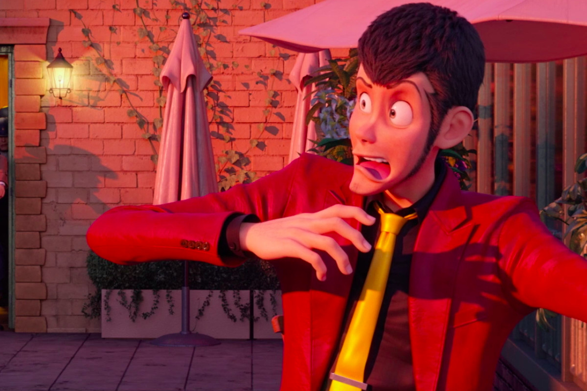 Animated gentleman thief Lupin III looks exaggeratedly shocked as his old enemy Zenigata bursts through a doorway, backed by a squad of cops, in Lupin III: The First.