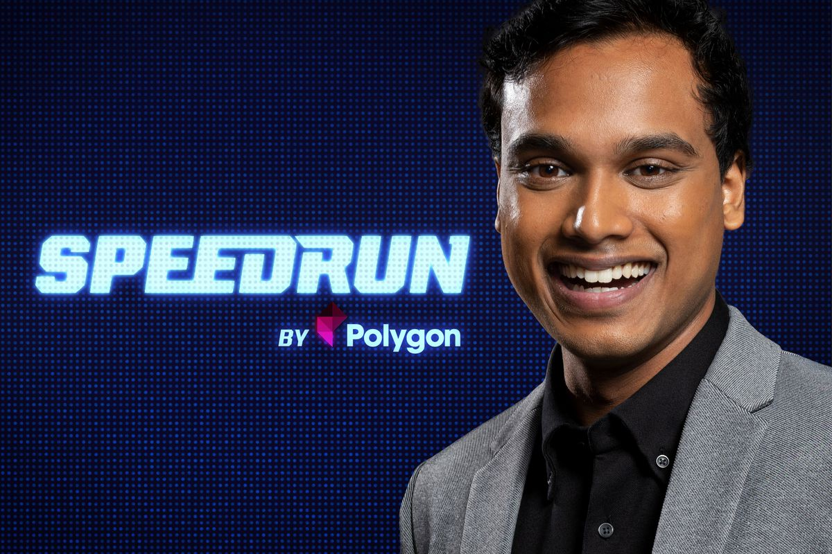 host Jimmy Mondal looks to camera smiling in front of the Speedrun logo