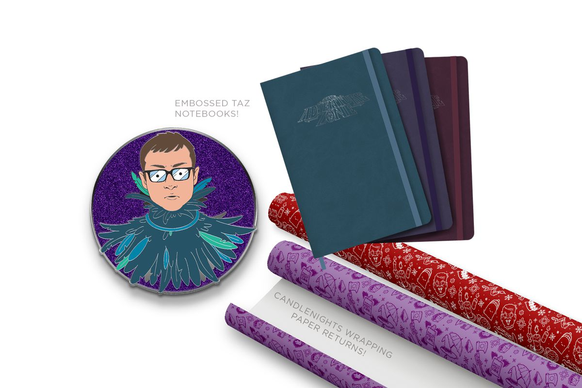 Image of the three October McElroy merch items. To the left is an enamel pin of Griffin in his Raven costume with a sparkly purple background. The top right image is three notebooks embossed with the TAZ logo. They are teal, purple, and maroon. The bottom right image is two rolls of Candlenights wrapping paper. One is purple and one is red.