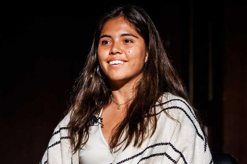 Xiye Bastida speaks at the New York Society for Ethical Culture on September 23, 2019.