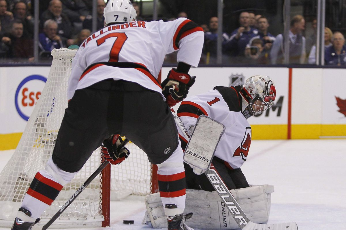 This was the first bad goal Johan Hedberg allowed tonight in New Jersey's 4-2 loss to Toronto.  There would be two more.