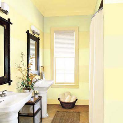 Bathroom walls with two-tone yellow striped pattern.