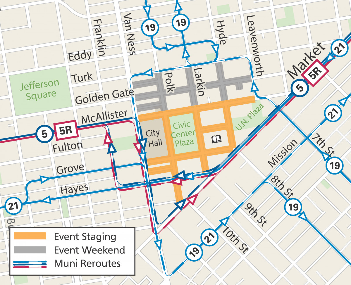SF Pride Parade afterparty map, including reroutes.