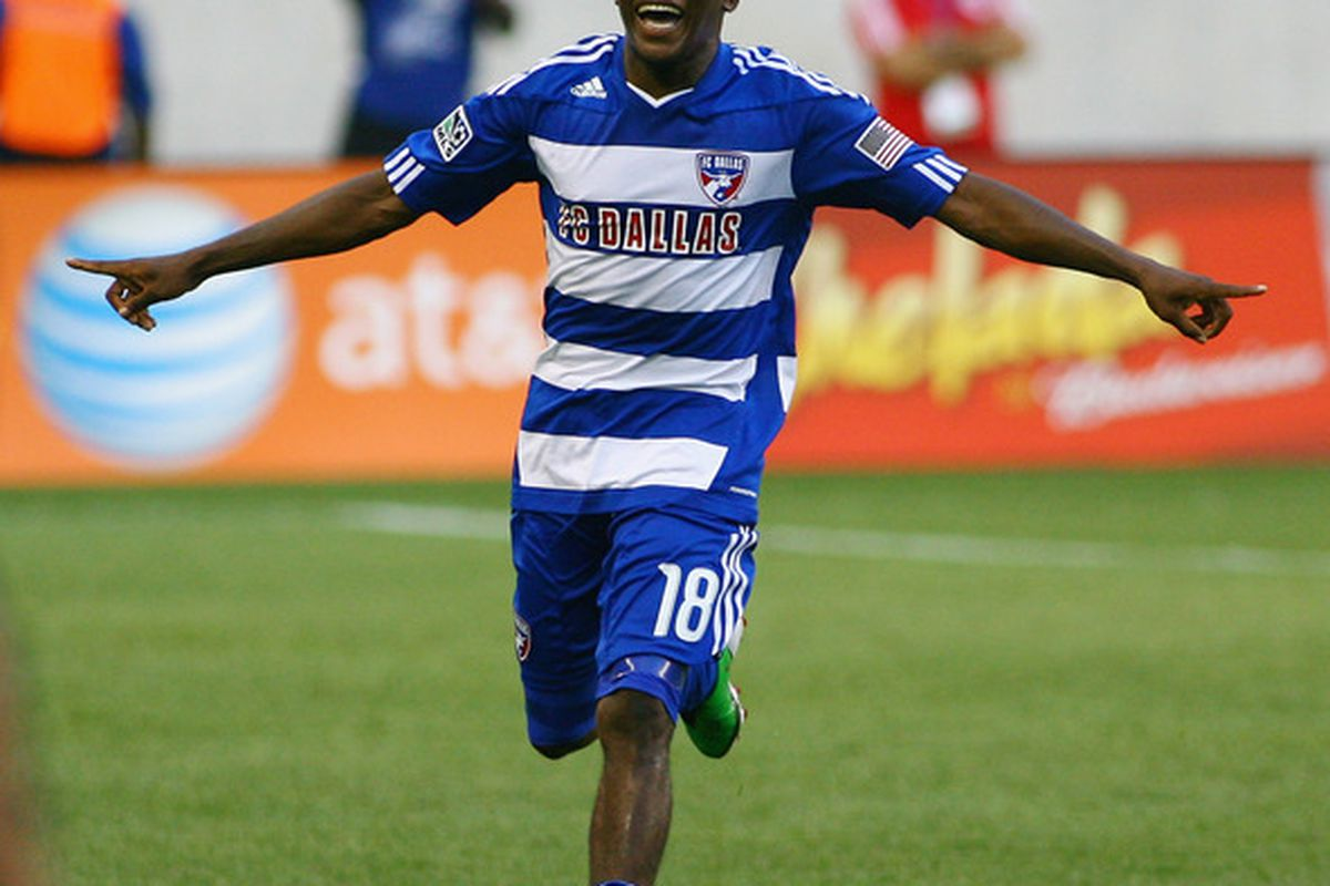 HARRISON, NJ - JULY 23: Marvin Chavez #18 of FC Dallas celebrates after scoring his second goal of the game against the New York Red Bulls during the game at Red Bull Arena on July 23, 2011 in Harrison, New Jersey. (Photo by Andy Marlin/Getty Images)