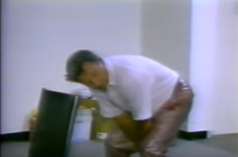 """Bobby Bowden """"demonstrating"""" the """"puntrooskie"""" against Clemson in 1988"""
