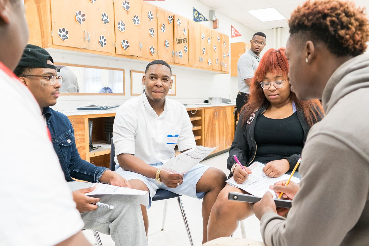 Students discuss advocacy topics during their session at Fairley High School, one of 10 schools in Shelby County participating in the program.