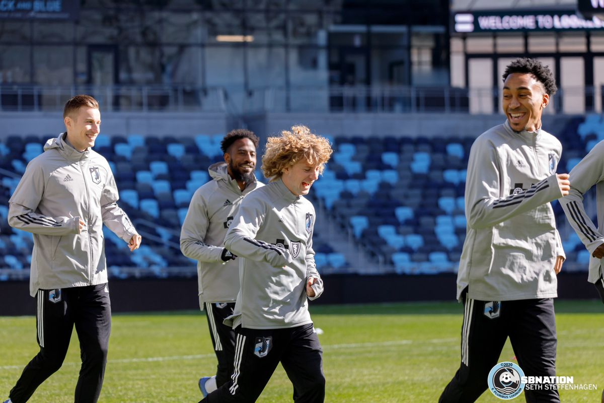 March 10, 2020 - Saint Paul, Minnesota, United States - Ján Greguš, Romain Metanire, Thomás Chacón and Marlon Hairston have a laugh during the Loon's first team practice at Allianz Field.