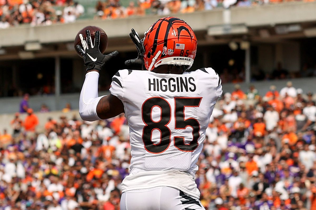 Tee Higgins #85 of the Cincinnati Bengals catches a pass for a touchdown in the second quarter against the Minnesota Vikings at Paul Brown Stadium on September 12, 2021 in Cincinnati, Ohio.