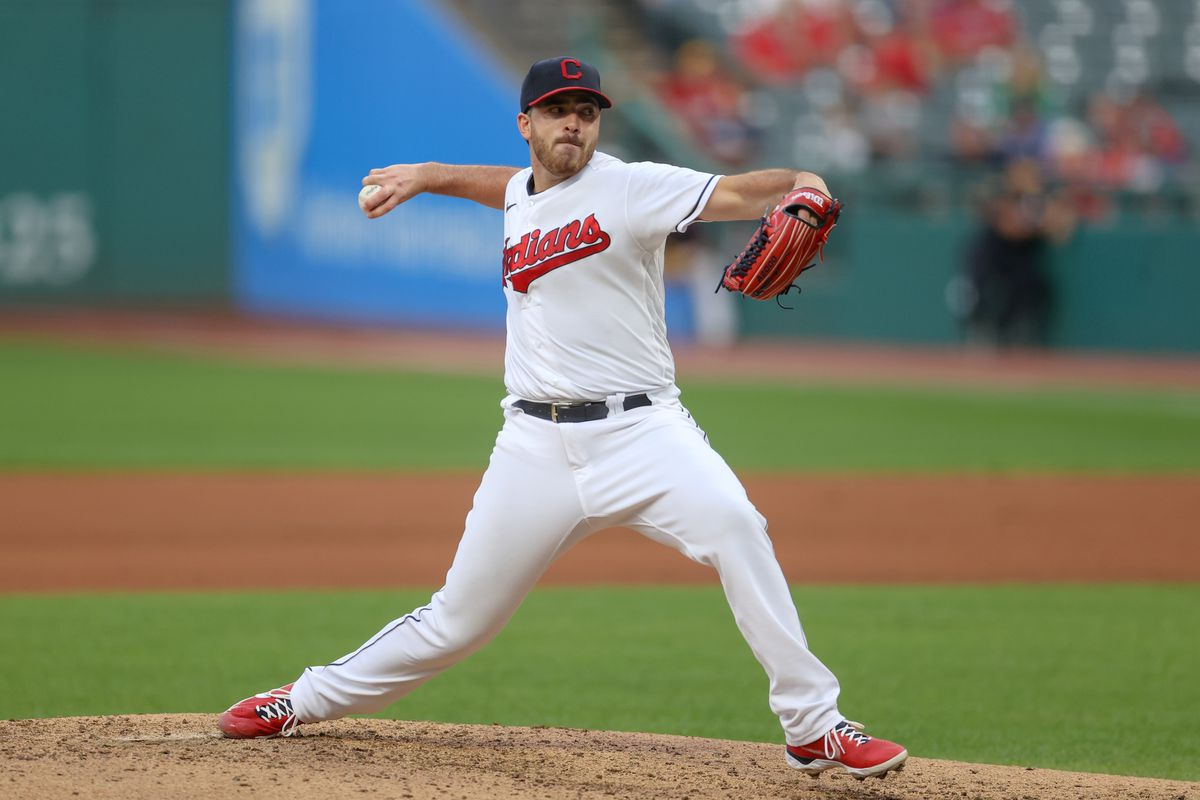 Cleveland Indians pitcher Aaron Civale (43) delivers a pitch to the plate during the fourth inning of the Major League Baseball game between the Minnesota Twins and Cleveland Indians on September 7, 2021, at Progressive Field in Cleveland, OH.