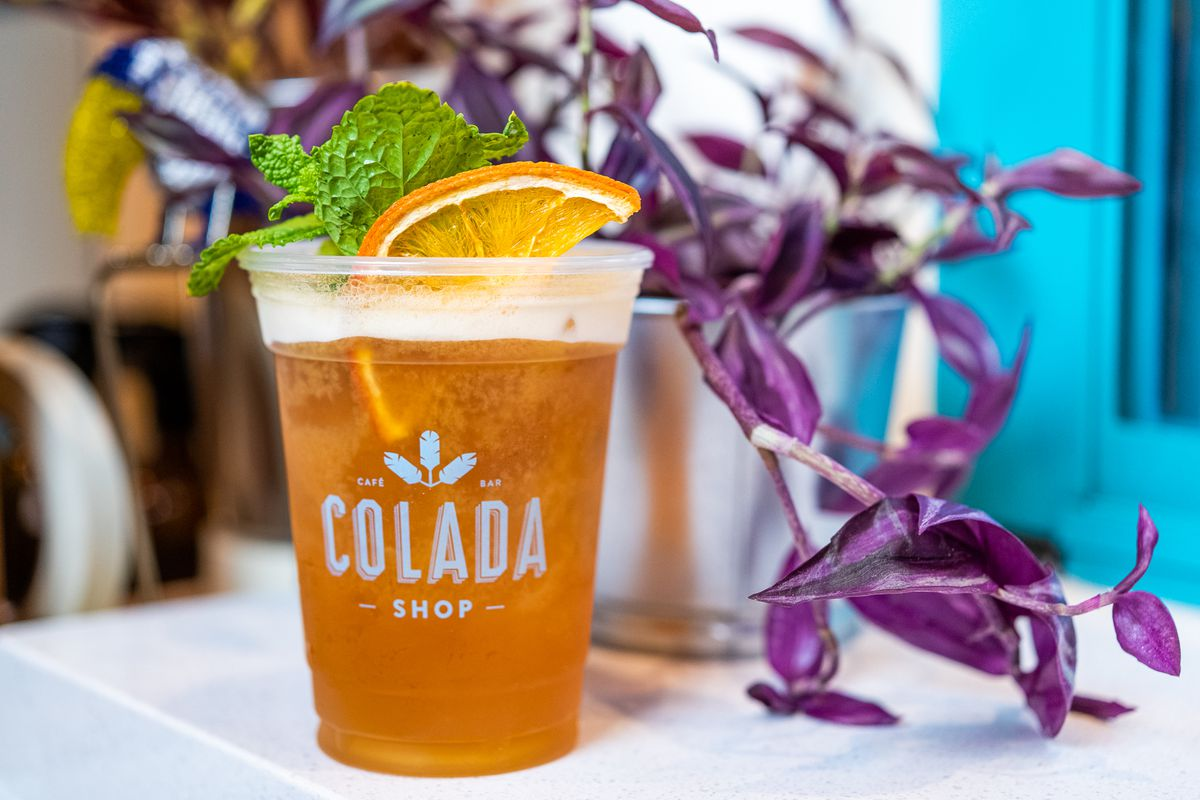 Frothy shaken tea made with mango and passion fruit puree from Colada Shop