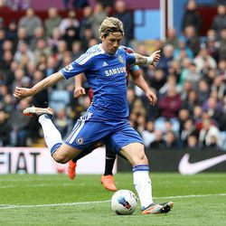 Chelsea's Fernando Torres scores a goal during the English Premier League soccer match between Chelsea and Aston Villa at Villa Park Stadium in Birmingham, Saturday, March 31, 2012.