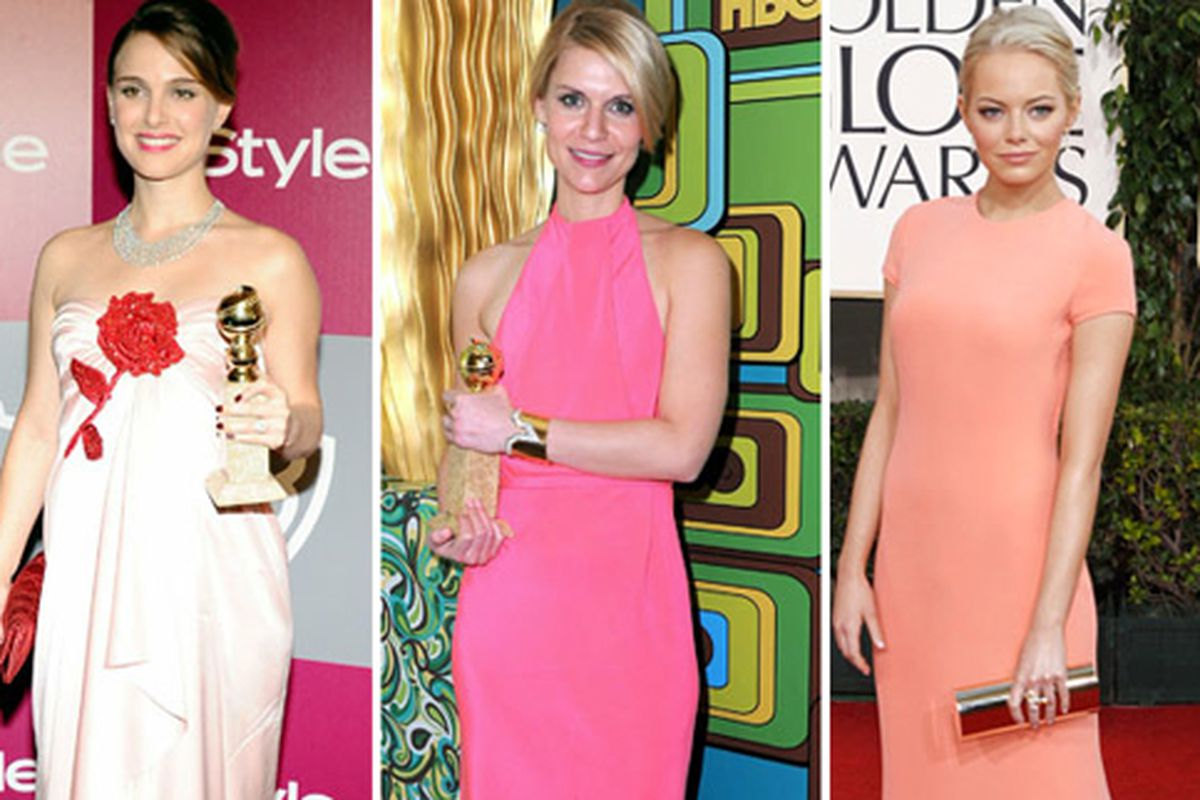 """Pretty in pink. Image via the <a href=""""http://latimesblogs.latimes.com/alltherage/2011/01/golden-globes-10-best-dressed.html"""">Los Angeles Times</a>."""