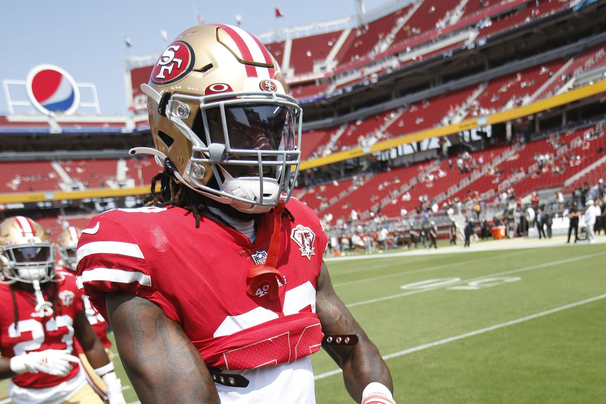 Trey Sermon #28 of the San Francisco 49ers on the field before the game against the Las Vegas Raiders at Levi's Stadium on August 29, 2021 in Santa Clara, California.