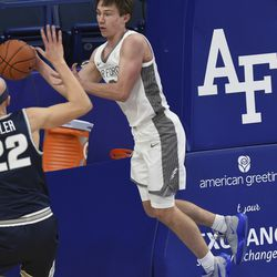 Air Force's Glen McClintock passes the ball during the second half against Utah State in an NCAA college basketball game Thursday, Dec. 31, 2020, at Air Force Academy, Colo.