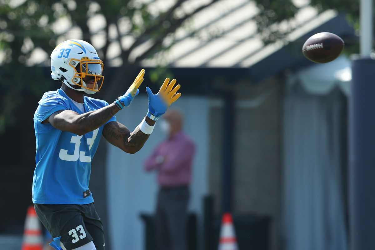 Derwin James #33 of the Los Angeles Chargers makes a catch during Los Angeles Chargers Training Camp at the Jack Hammett Sports Complex on August 25, 2020 in Costa Mesa, California.