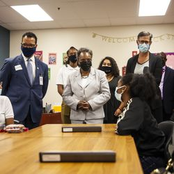 Chicago Public Schools Interim Chief Executive Officer José Torres, Mayor Lori Lightfoot, First Lady Amy Eshleman and other CPS officials visit students in a classroom at Ombudsman Chicago South Alternative School.