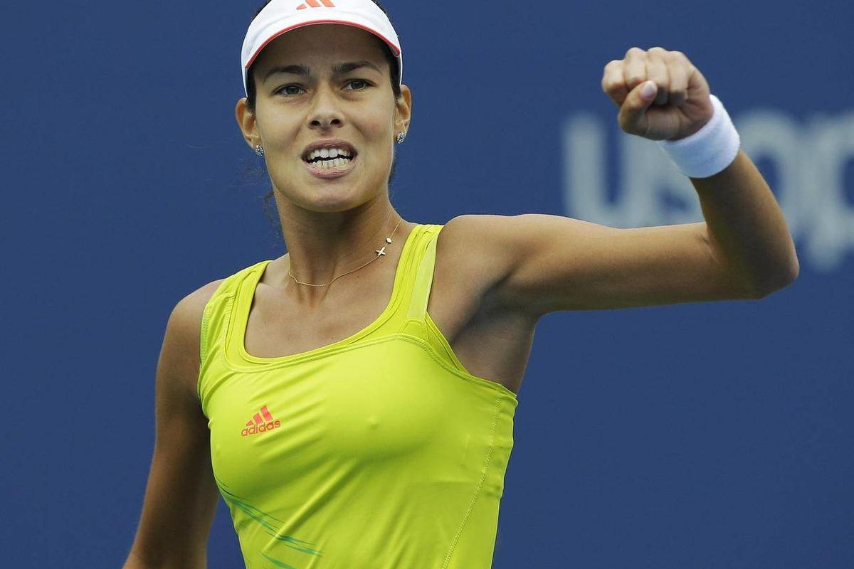 Serbia's Ana Ivanovic reacts during her match against Bulgaria's Tsvetana Pironkova in the fourth round of play at the 2012 US Open tennis tournament,  Monday, Sept. 3, 2012, in New York.