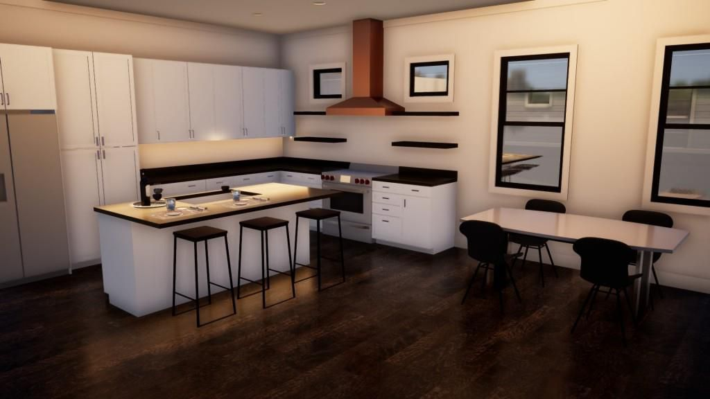 A kitchen with white cabinets shown in a rendering.