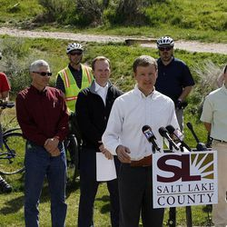 Colin Quinn-Hurst speaks at a press conference where County Mayor Ben McAdams announced Salt Lake County's new Bicycle Ambassador Program, Monday, April 29, 2013.