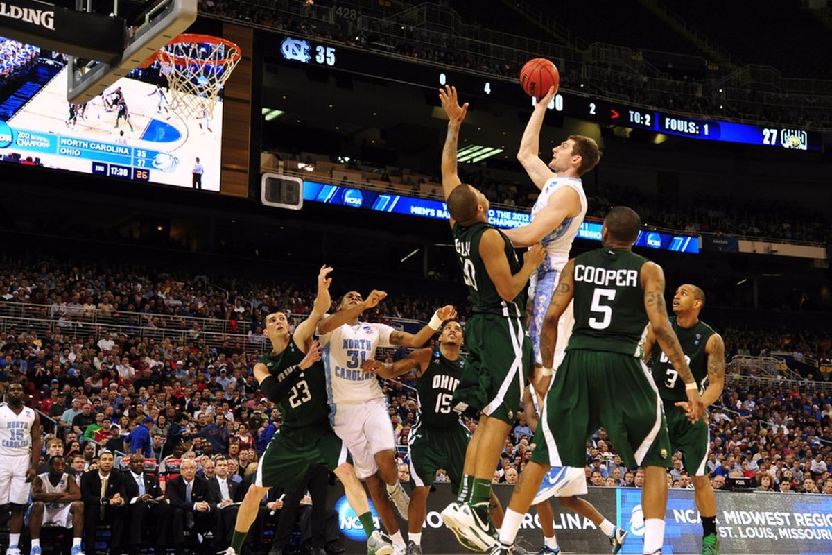 Tyler Zeller shoots the ball as Ohio Bobcats forward Reggie Keely (30) defends during the second half of the semifinals in the midwest region of the 2012 NCAA men's basketball tournament.