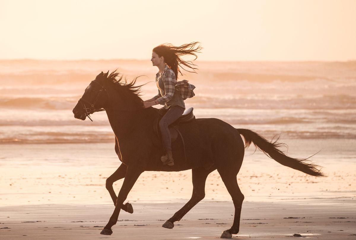 Mackenzie Foy as Jo Green, riding a galloping Black Beauty across the beach at sunset.