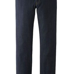 """<strong>Uniqlo</strong> Slim Fit Straight Jeans in 68 Blue, <a href=""""http://www.uniqlo.com/us/men/bottoms/jeans/slim-fit/men-slim-fit-straight-jeans-092149.html#68"""">$49.90</a>"""