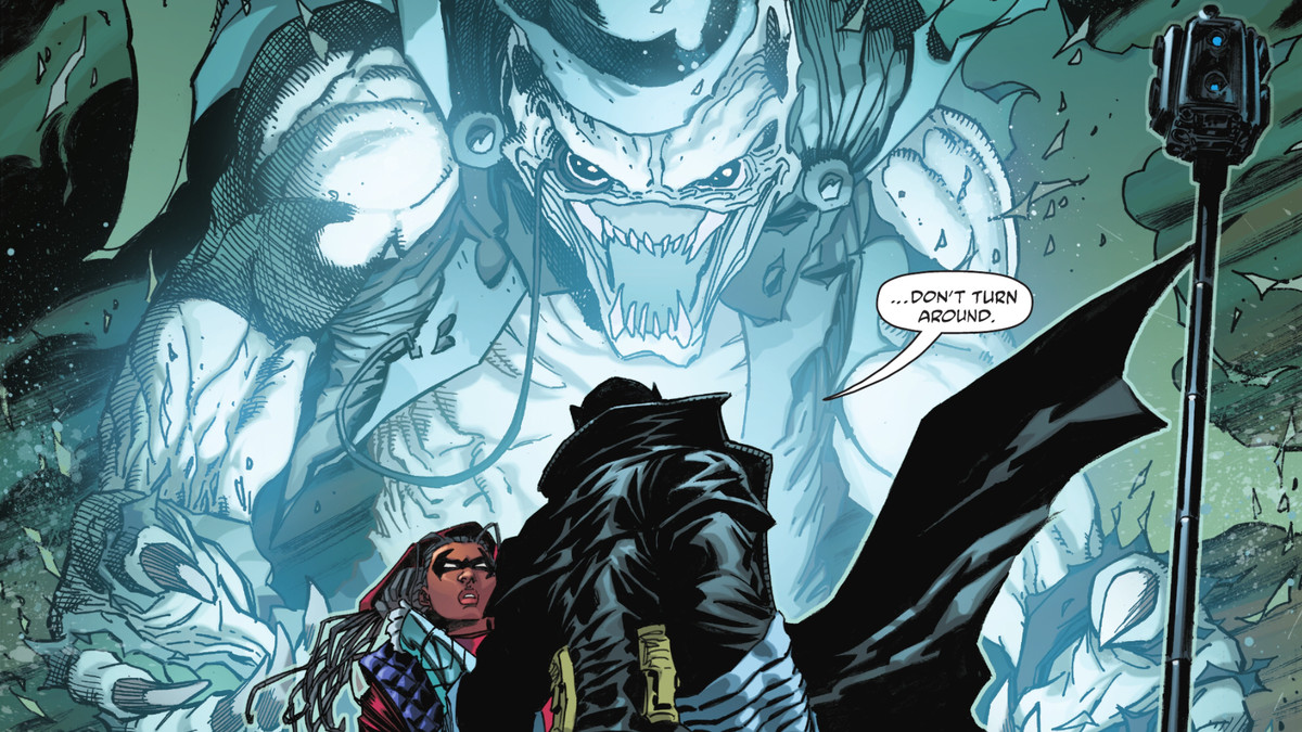 """""""Don't turn around, says Batman"""" as a monstrously transformed Gentleman Ghost looms over him and Squire in Batman: The Detective #1, DC Comics (2021)."""