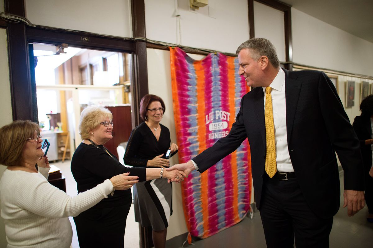 Mayor Bill de Blasio visited Richmond Hill in March to tout recent progress the school has made. (Rob Bennett/Mayoral Photography Office)