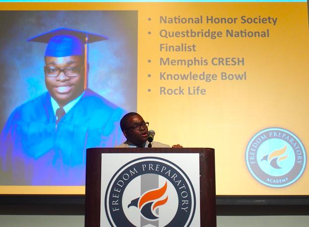 Elijah Tyler speaks at the school's academic signing day.