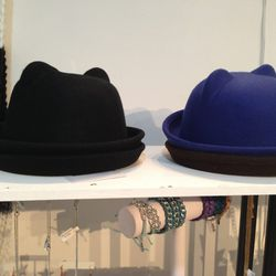 """Cat ear bowler hat, <a href=""""http://revelstyle.com/collections/hats/products/kitty-bowler-cap-2"""">$29</a>"""