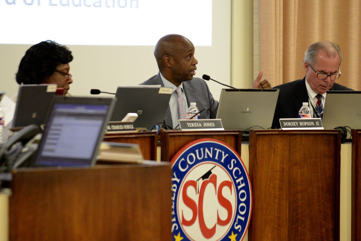 From left: Board Chairwoman Teresa Jones, Superintendent Dorsey Hopson and board member Scott McCormick