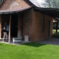 The Mapleton Relief Society Hall now stands in the backyard of a home as a shed.