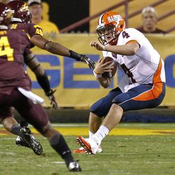 Illinois quarterback Reilly O'Toole (4) scrambles against Arizona State during the first half of an NCAA college football game, Saturday, Sept. 8, 2012,in Tempe, Ariz.