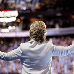 Democratic presidential candidate Hillary Clinton waves to the crowd as she takes the stage to speak during the fourth day of the Democratic National Convention in Philadelphia on Thursday, July 28, 2016.