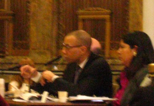 Veronica Conforme testified at a City Council budget hearing in 2011 alongside Chancellor Dennis Walcott. Conforme announced her departure from the Department of Education today.